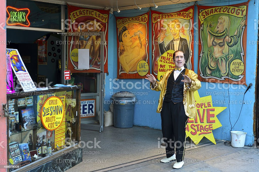Barker Attracting Crowds to Last Coney Island Freakshow stock photo