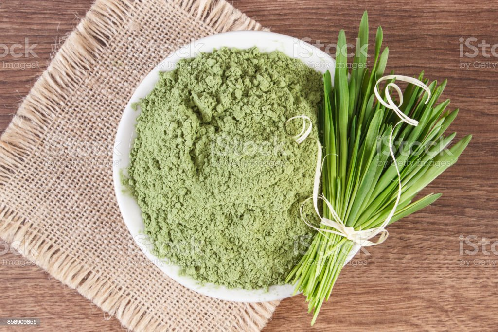 Barley grass and heap of young powder barley in bowl, body detox concept stock photo