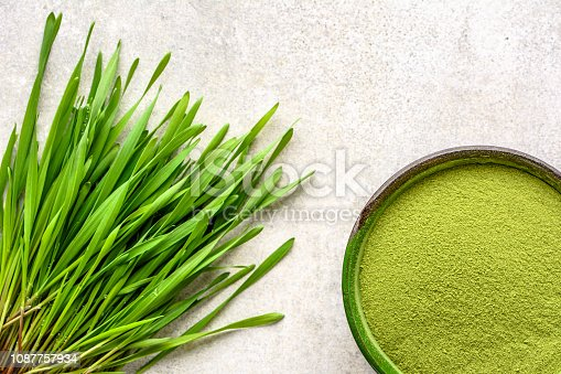 Barley grass detox superfood, powder and sprouts, vegan green diet for health and wellbeing