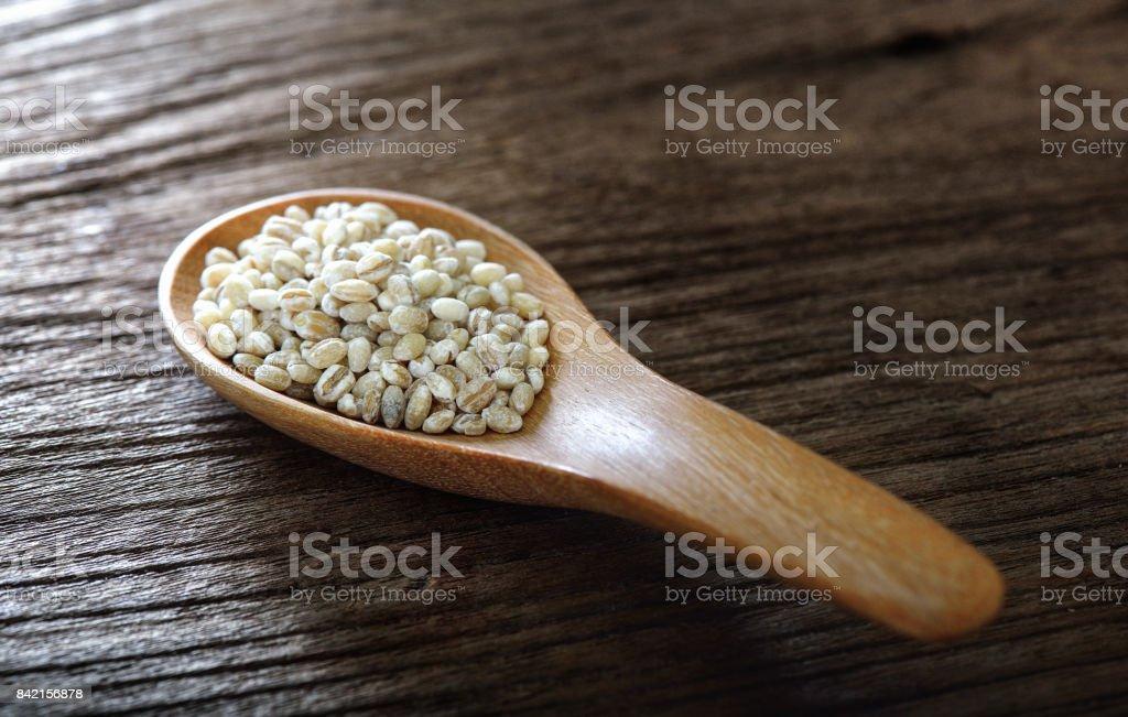 Barley in wood Spoon stock photo