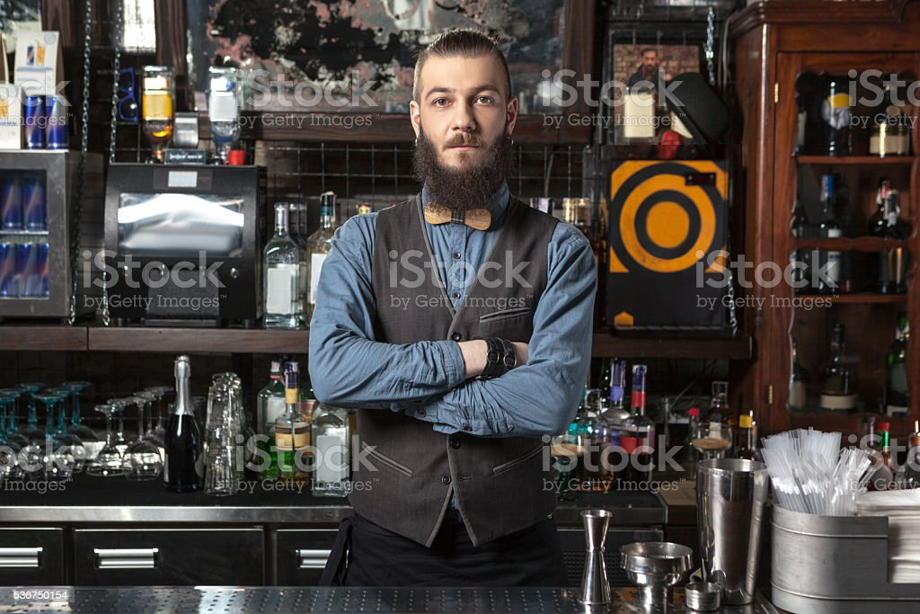 Barman at work. stock photo