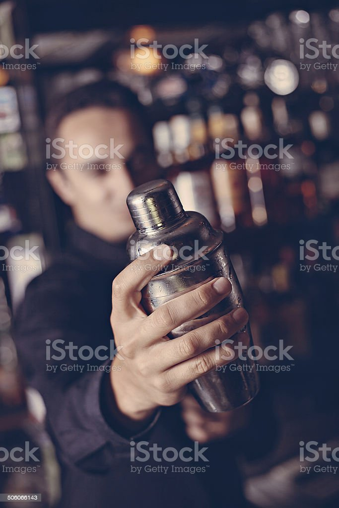 Barman In Pub stock photo
