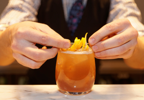 Barman Is Decorating A Cocktail Stock Photo - Download Image Now