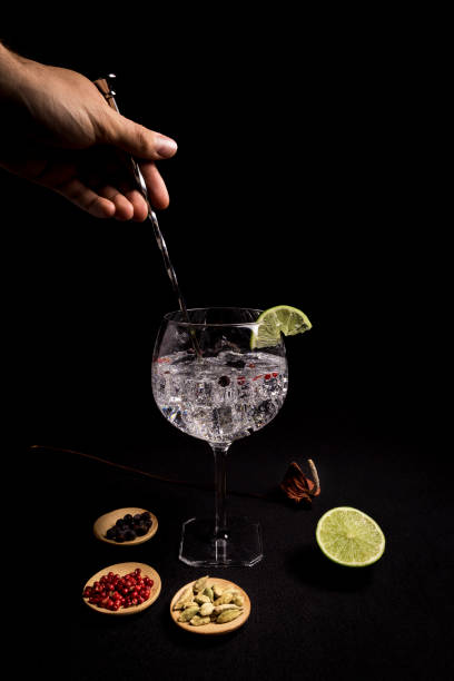 barman preparing a gin and tonic cocktail on a black background next to his ingredients stock photo