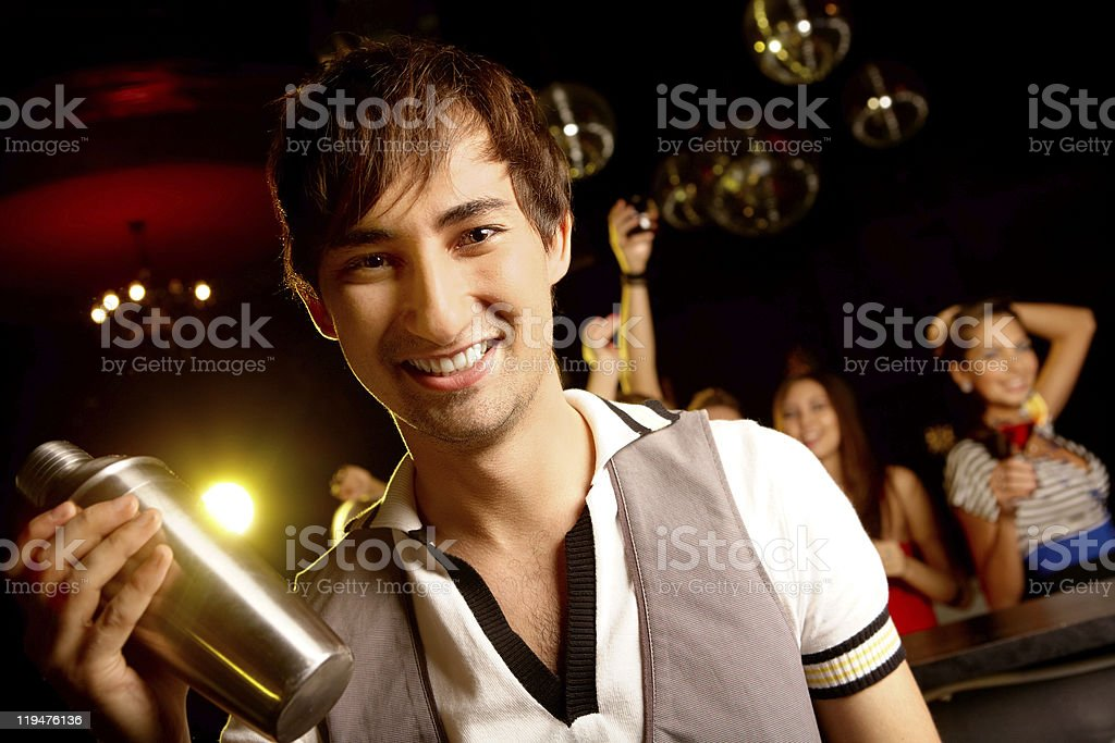 Barman with bottle royalty-free stock photo