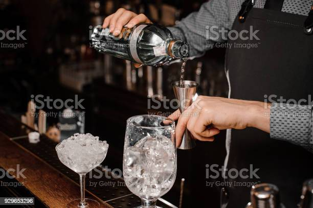 Barmans hands pouring alcoholic drink into a jigger to prepare a picture id929653296?b=1&k=6&m=929653296&s=612x612&h=fuj awuprdfd8vaohyum9pzbtxah0re3pqaqxh trfk=