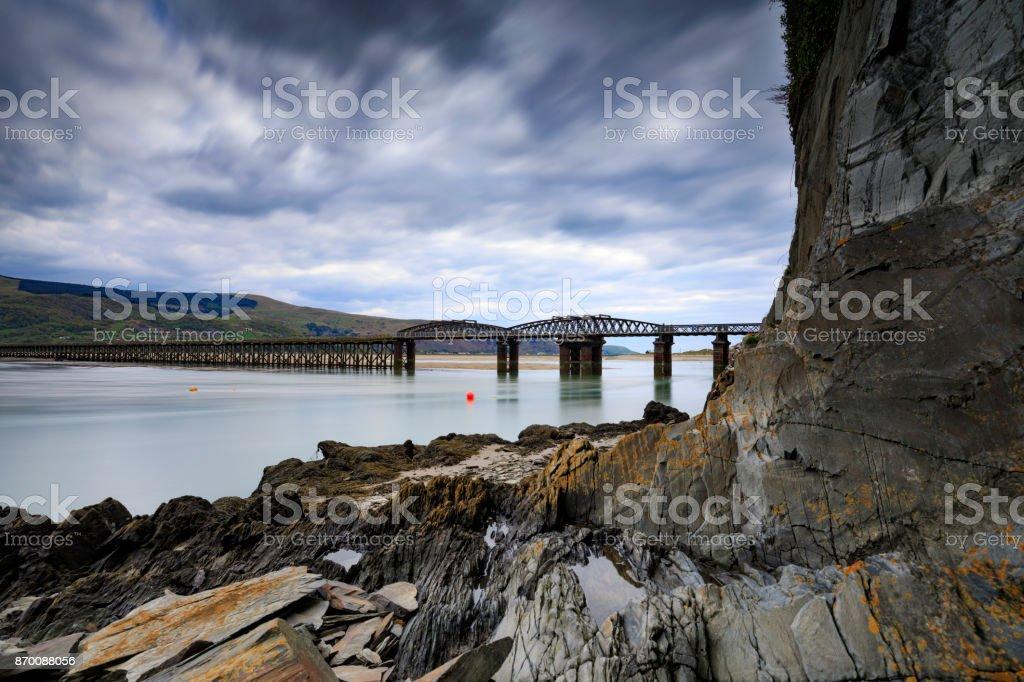Barmouth Bridge across the River Mawddach estuary stock photo