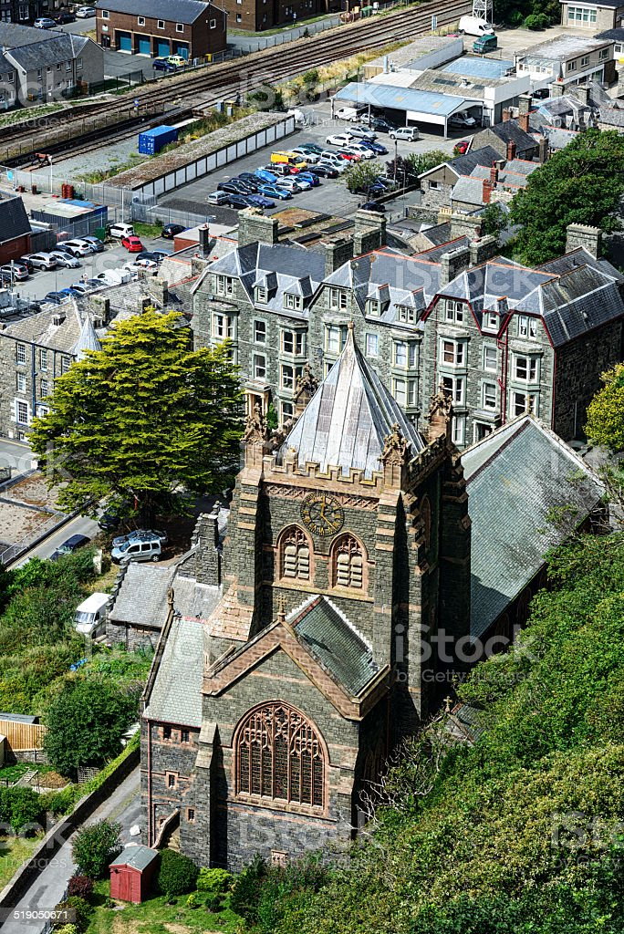 Barmouth Church from above stock photo