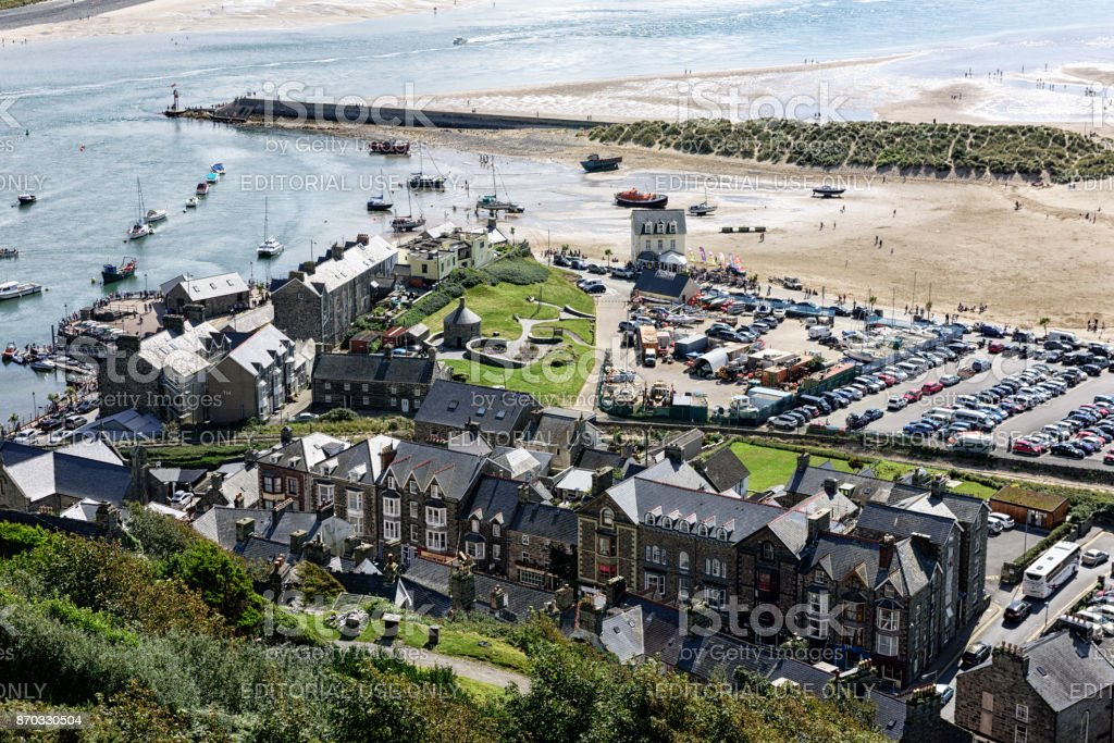 Barmouth Harbour aerial view, Wales stock photo