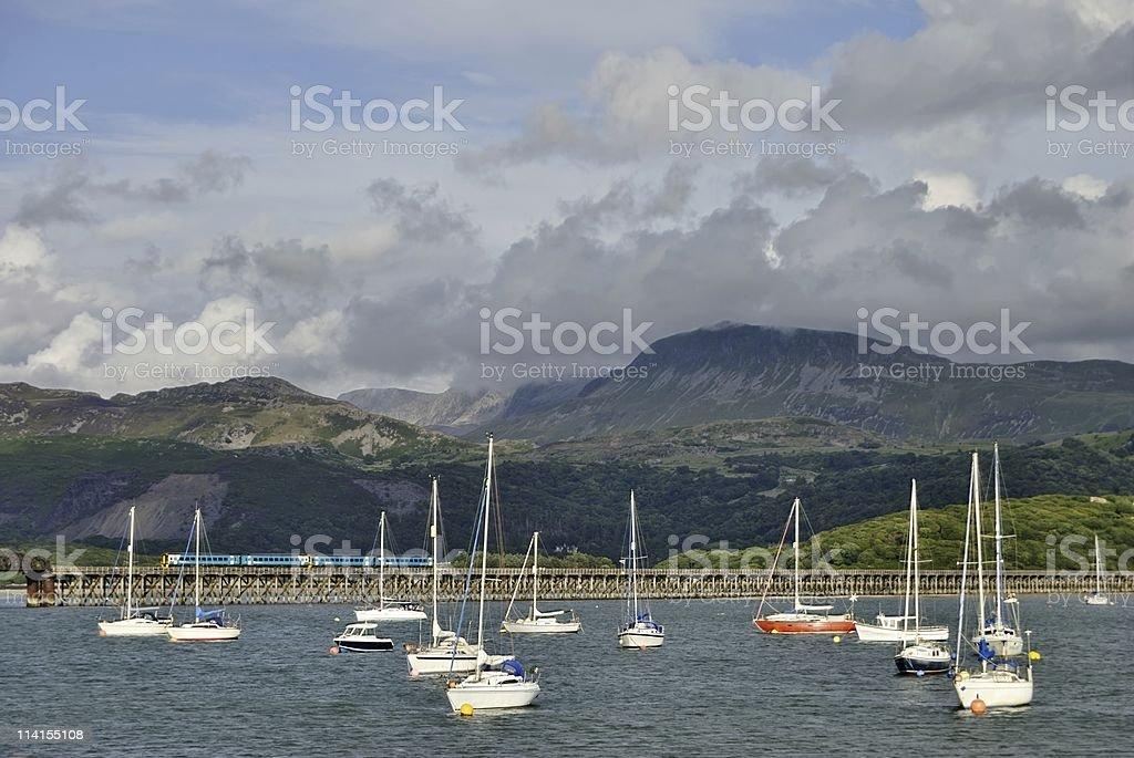 Barmouth Harbour & Bridge royalty-free stock photo