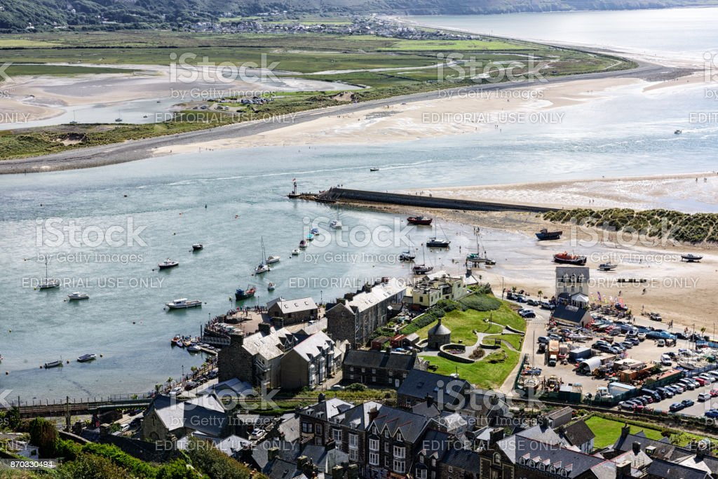 Barmouth Harbour from above, Wales stock photo