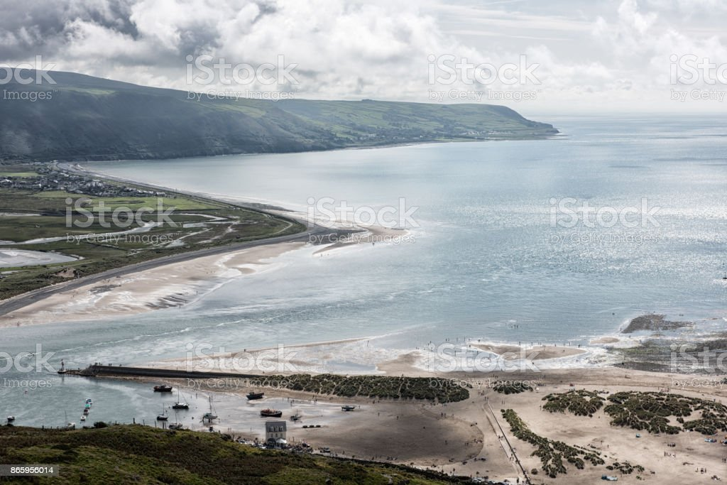 Barmouth Harbour, mouth of  River Mawddach, Wales stock photo