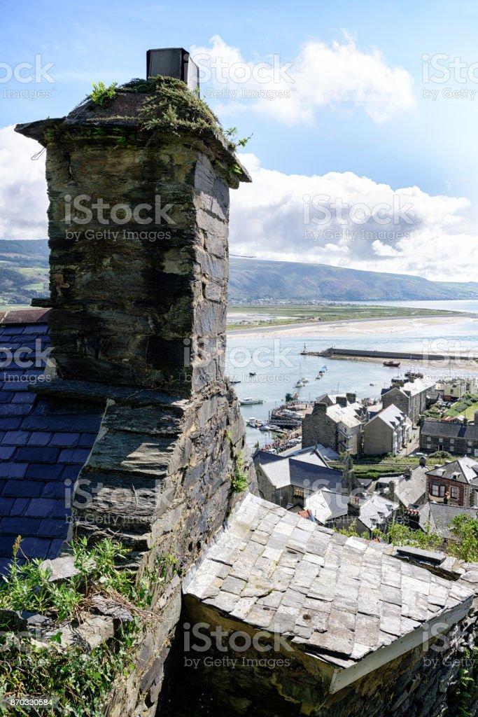 Barmouth houses and harbour, Wales stock photo