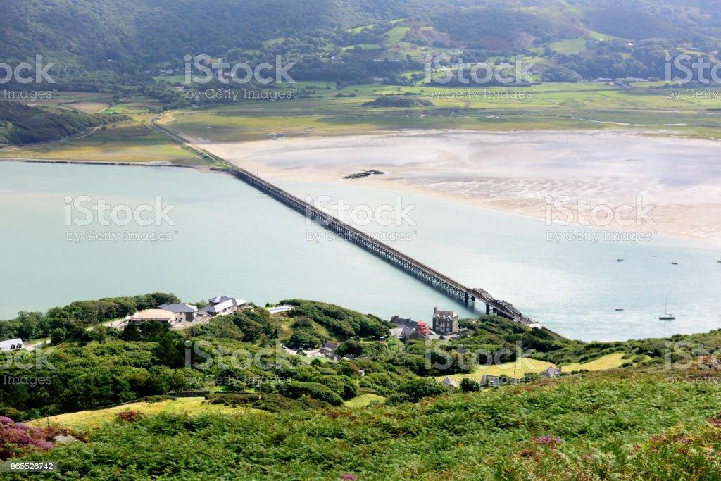 Barmouth Railway Bridge across River Mawddach, Wales stock photo