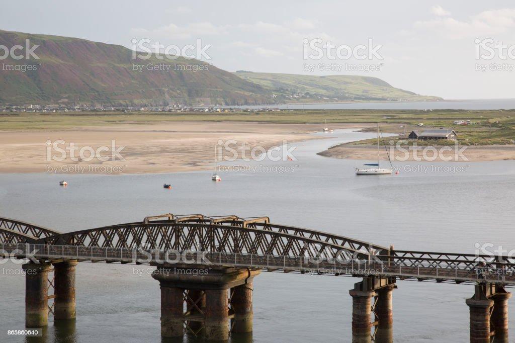 Barmouth Railway Bridge; Wales stock photo