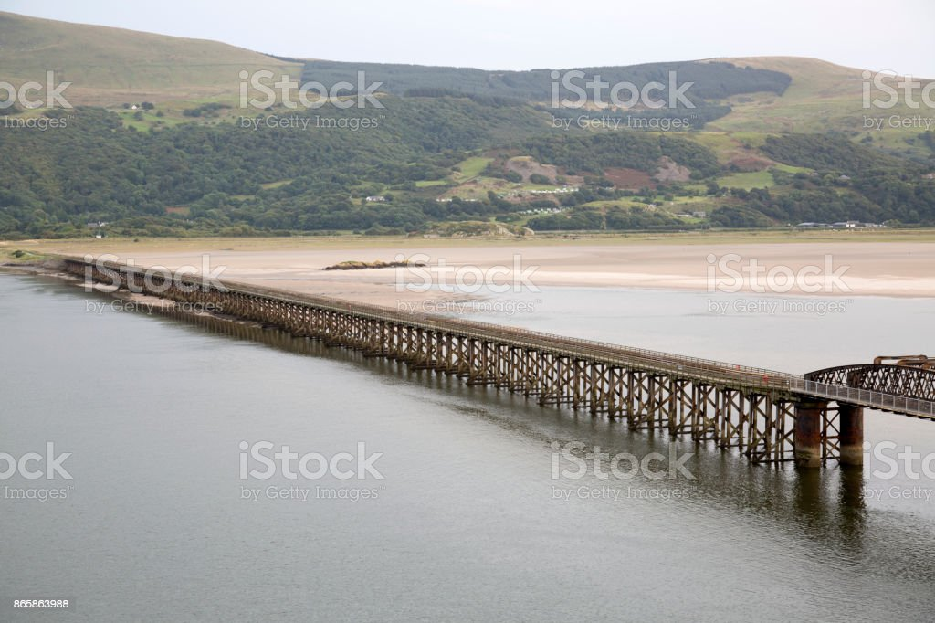 Barmouth Railway Bridge, Wales stock photo