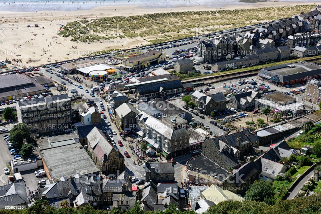 Barmouth town and  beach, from above stock photo