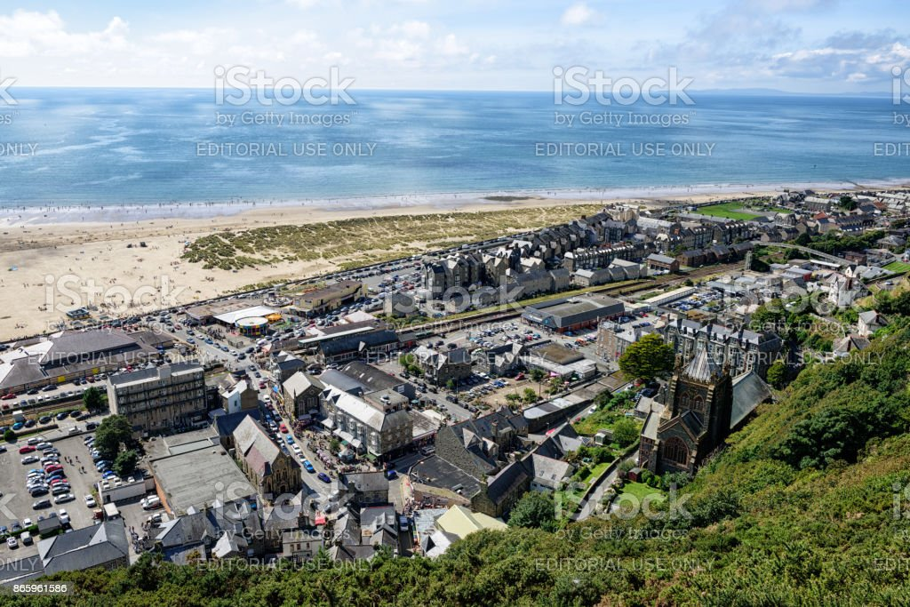 Barmouth town, beach, sea, from above stock photo