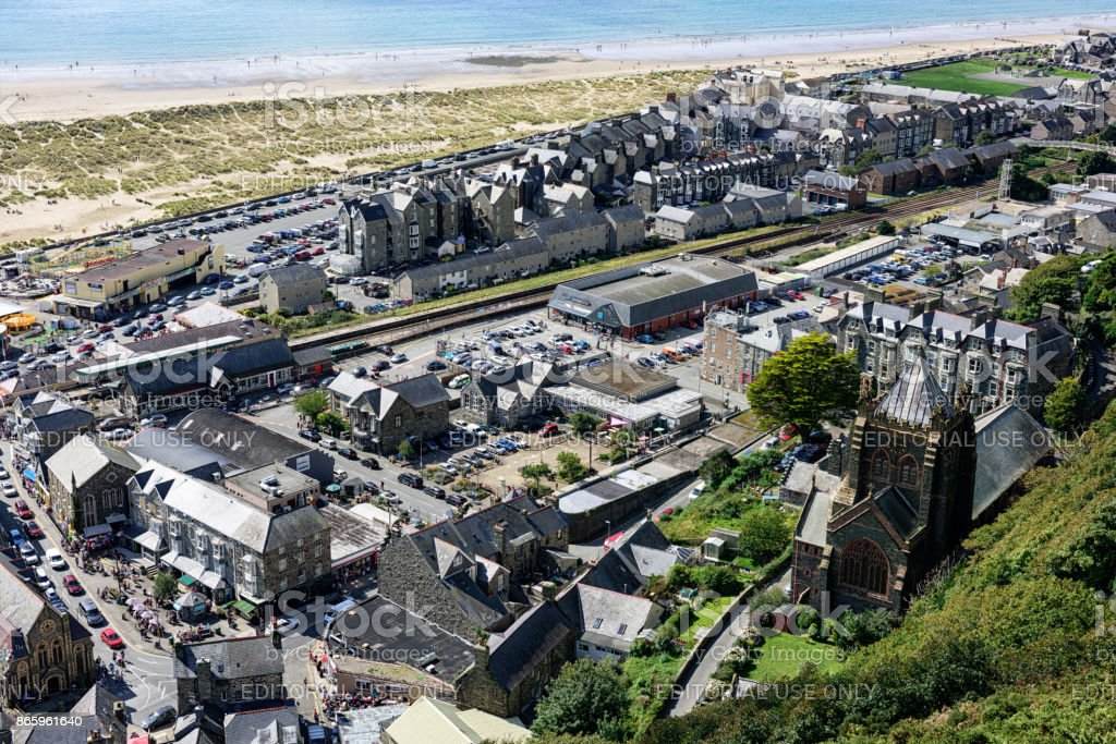 Barmouth town, beach, sea, viewed from above stock photo
