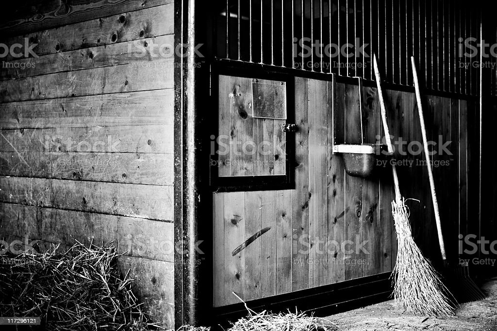 Barn. Agricultural Building. Black and White royalty-free stock photo