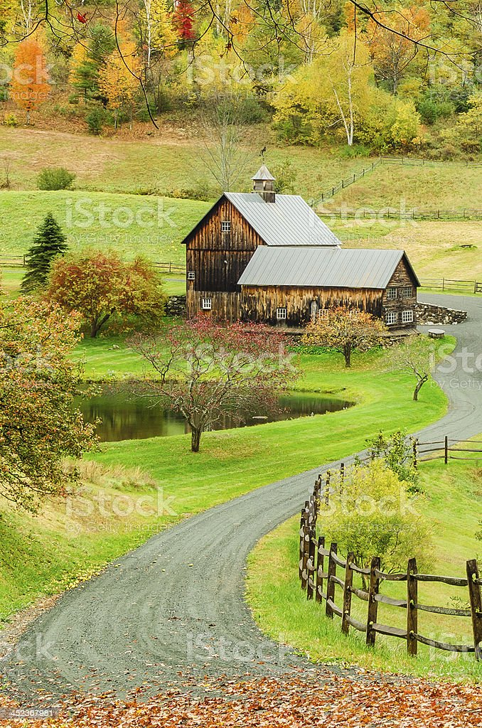 Barn and Autumn Colours stock photo