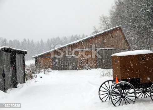 An Amish buggy parked in front of a rustic barn in a snow storm.