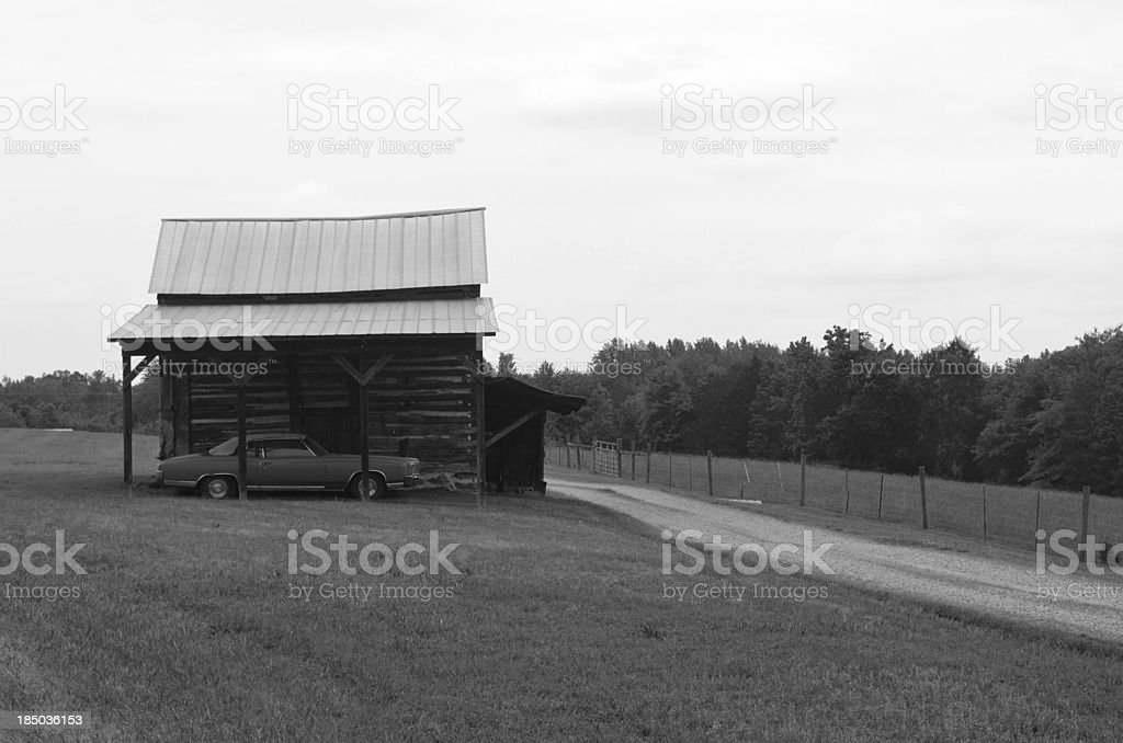 Barn and car royalty-free stock photo