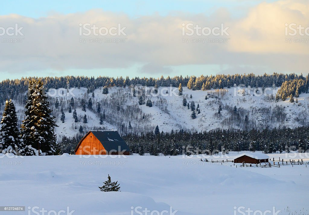 Barn and Corrals in Deep Snow stock photo
