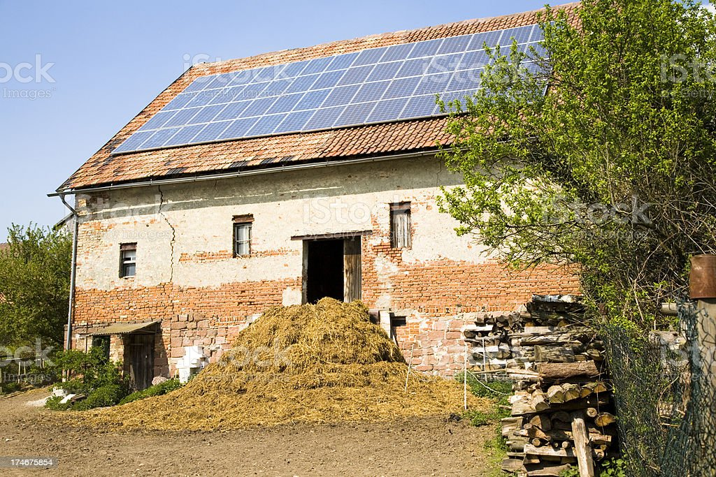 Barn and Dung Heap with Solar Panels royalty-free stock photo