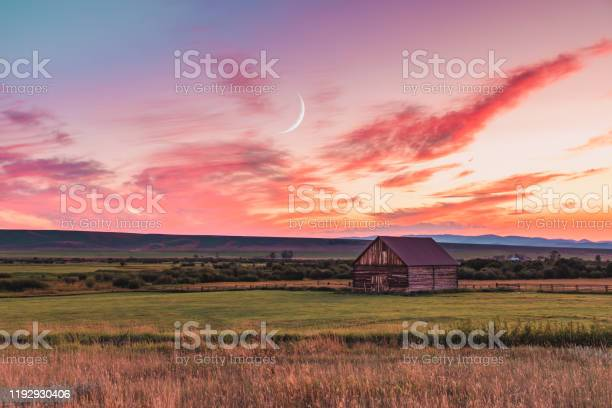 Photo of Barn at sunset in rural Montana
