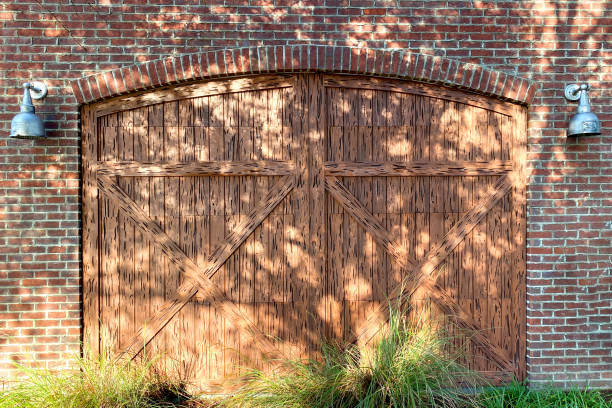 barn doors brick barn farm building stock photo