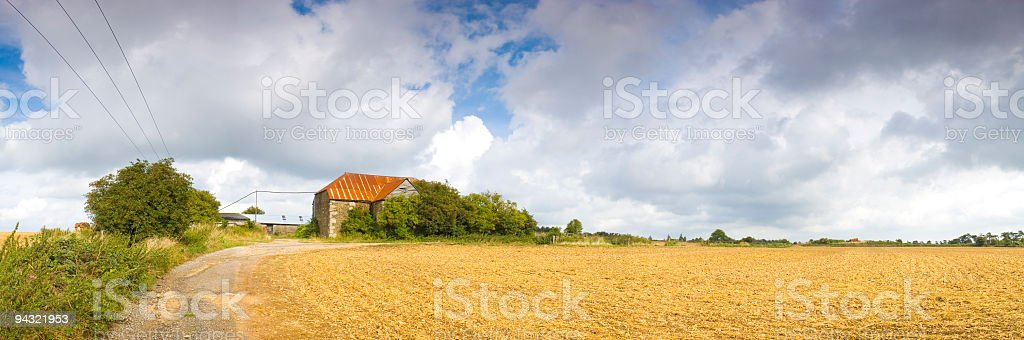 Barn, farm, fields, track royalty-free stock photo