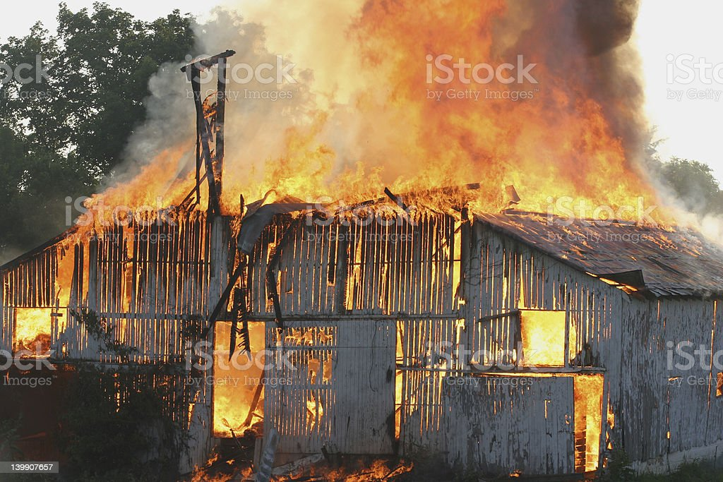 Barn Fire 2 stock photo