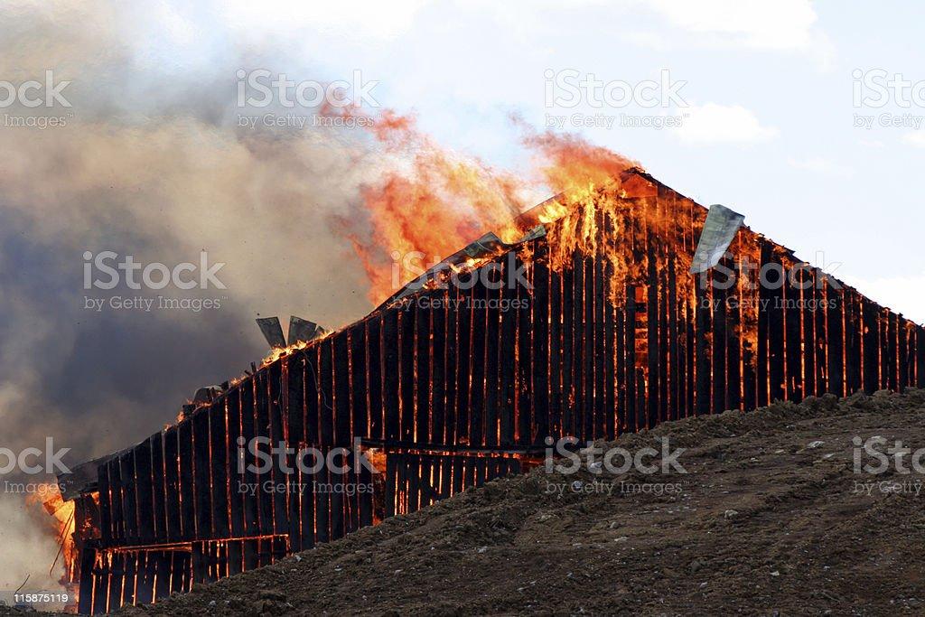 Barn Fire stock photo