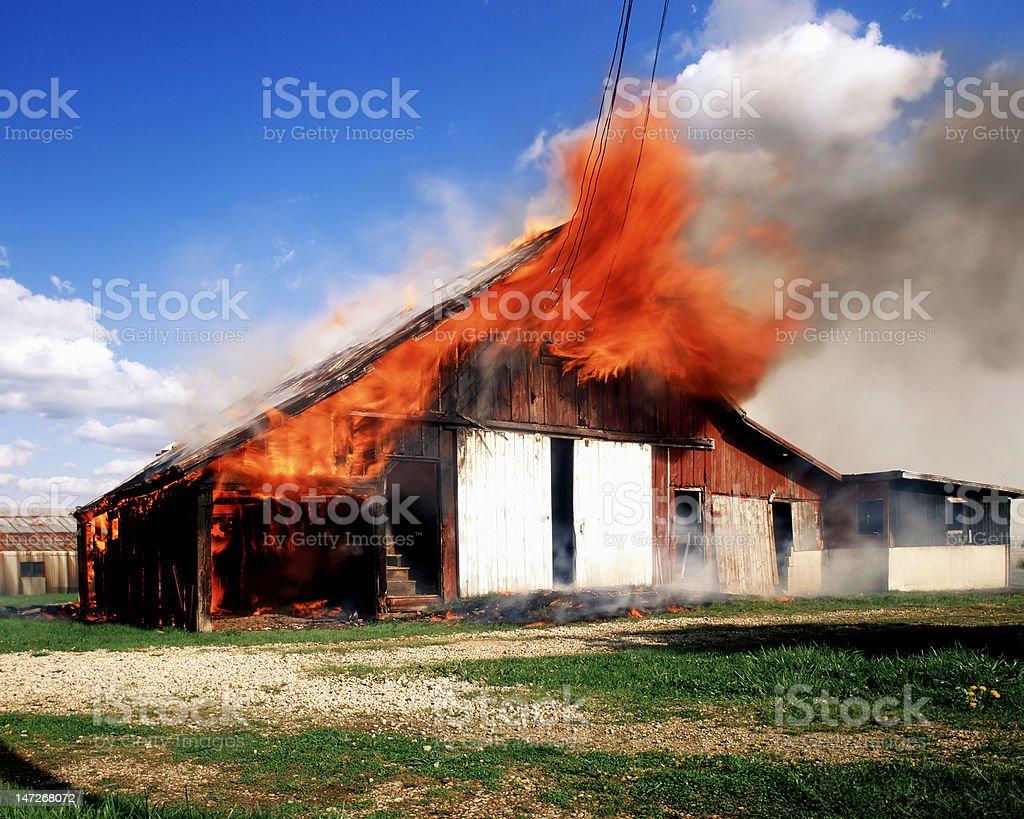 Barn fire. stock photo
