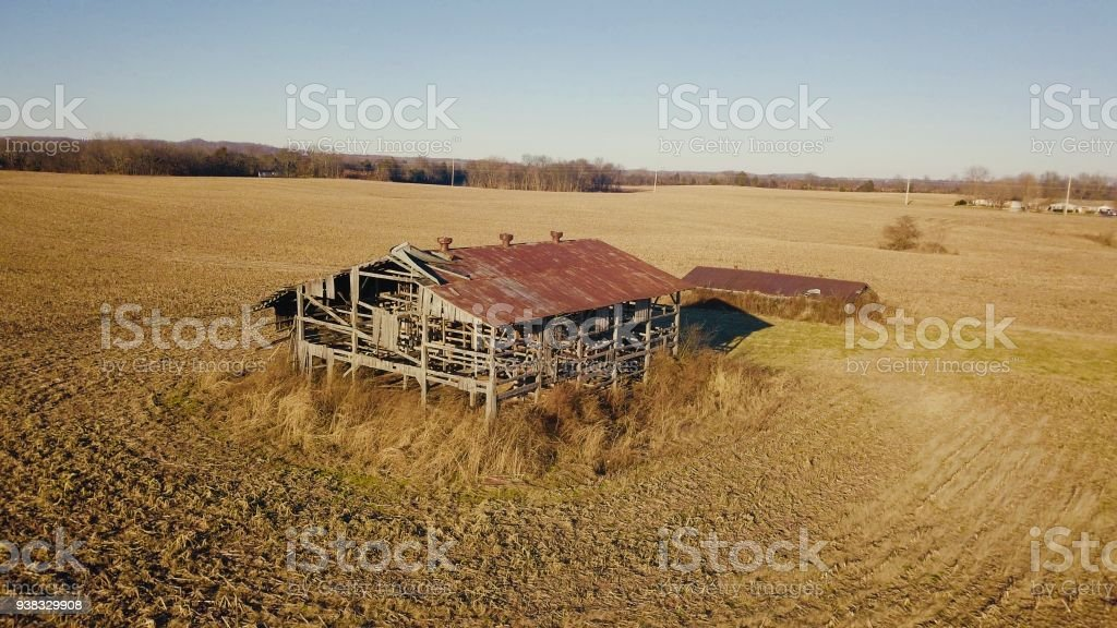 Barn in a harvested cornfield stock photo