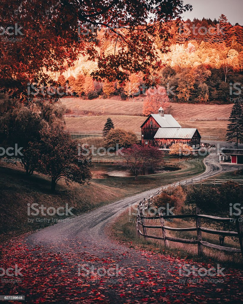 Barn in autumn stock photo