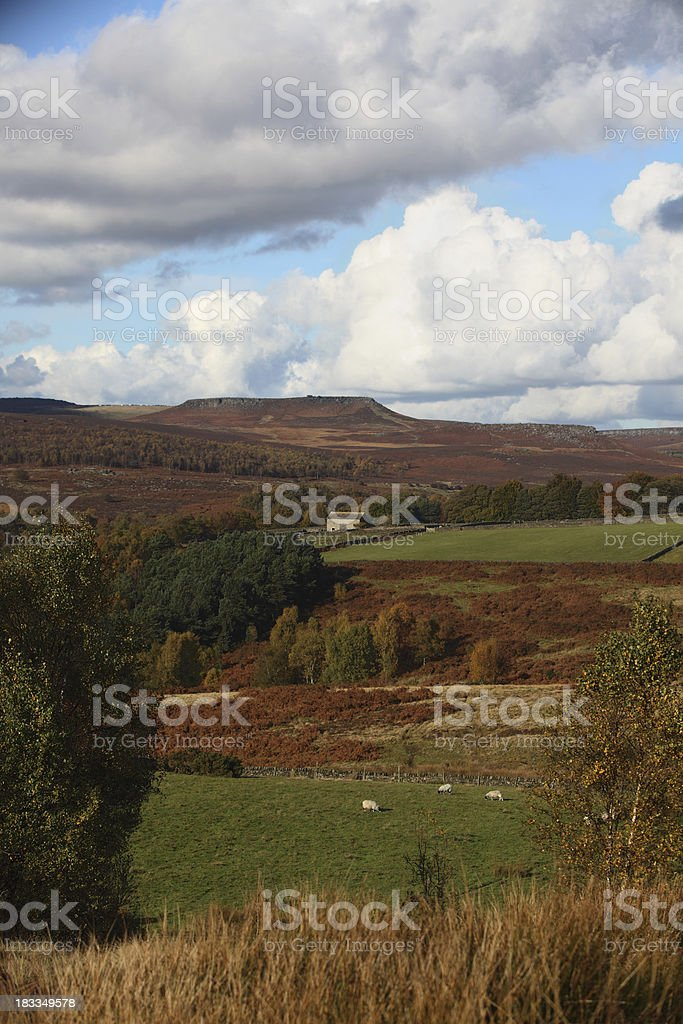 Barn in autumnal landscape - portrait stock photo
