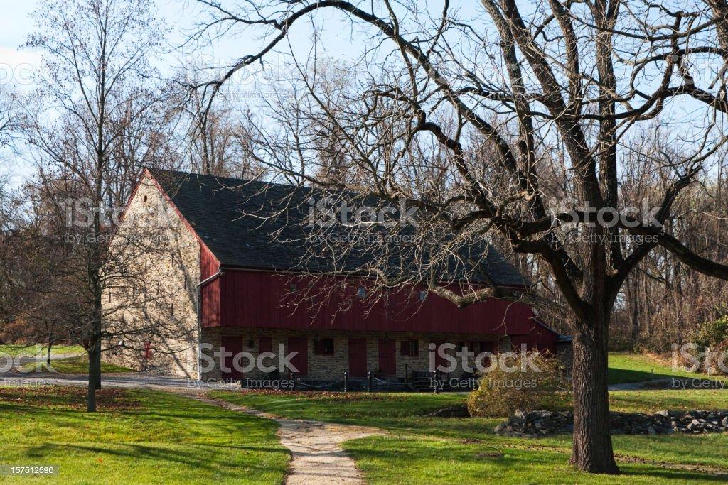 Barn in Beautiful Fall Landscape stock photo