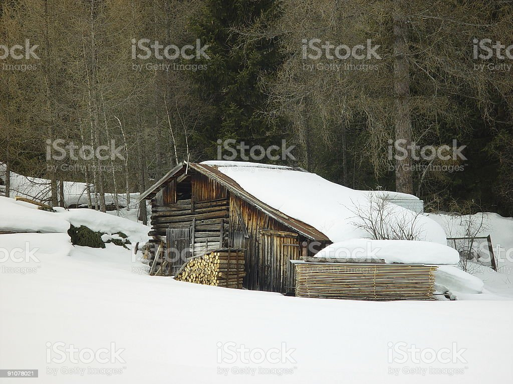 Barn in snow royalty-free stock photo