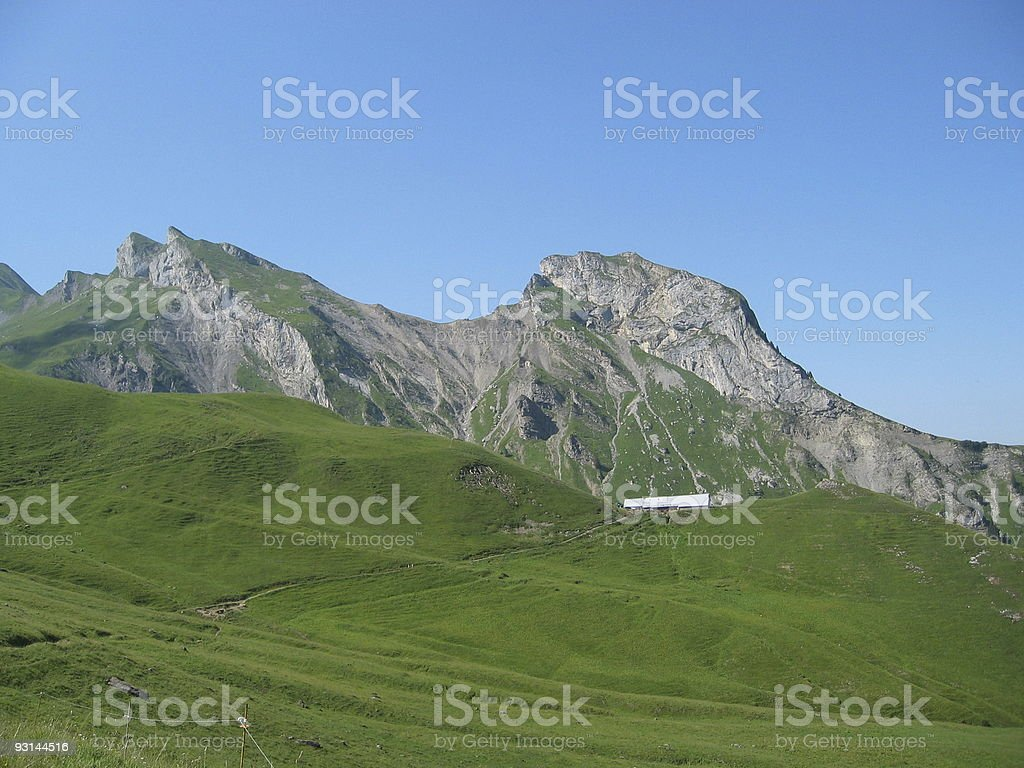 Barn in the mountain royalty-free stock photo