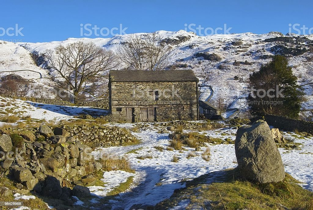 Barn in Wintry countryside royalty-free stock photo