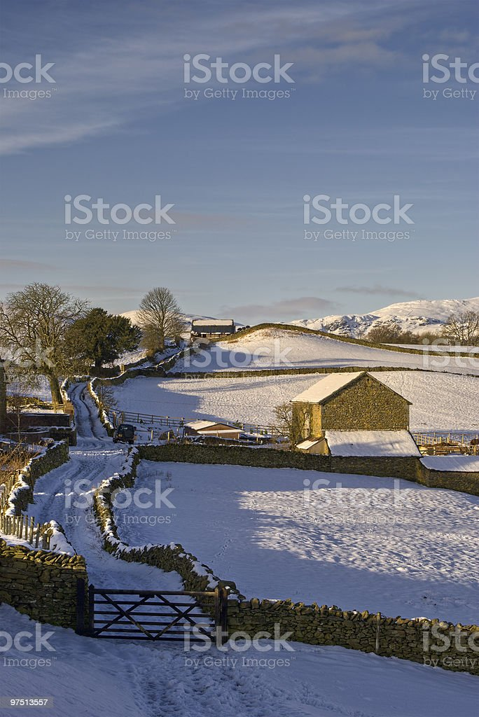 Barn in Wintry landscape royalty-free stock photo