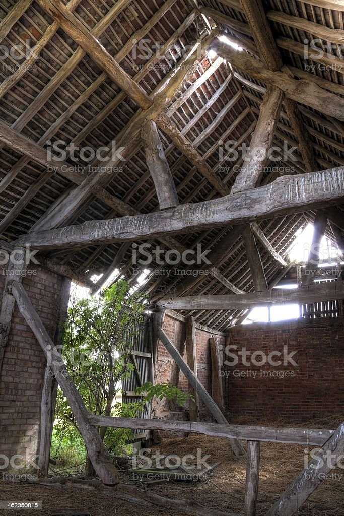 Barn interior, England stock photo