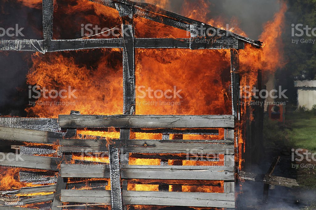 barn on fire royalty-free stock photo