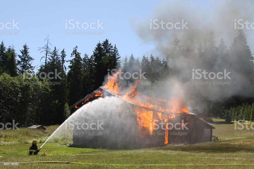 Barn On Fire stock photo