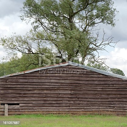 Wooden barn in front of a willow tree in the meadow .