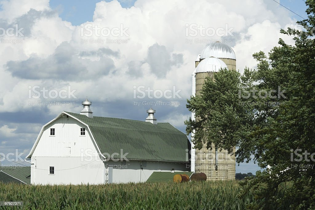 Barn, Silos, and Clouds royalty-free stock photo