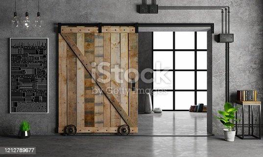 3d illustration. Modern interior in loft style barn sliding wooden door in loft room. Studio