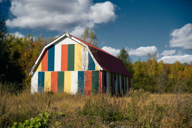 A barn that is out of the ordinary. stock photo